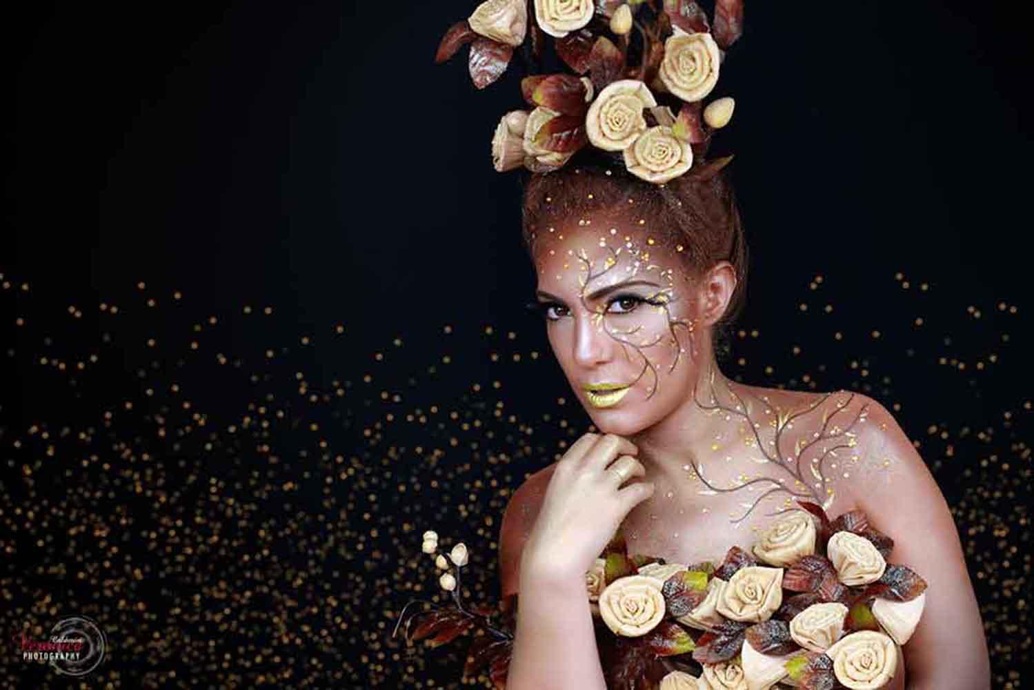 maquillaje caracterización hada flores dorado