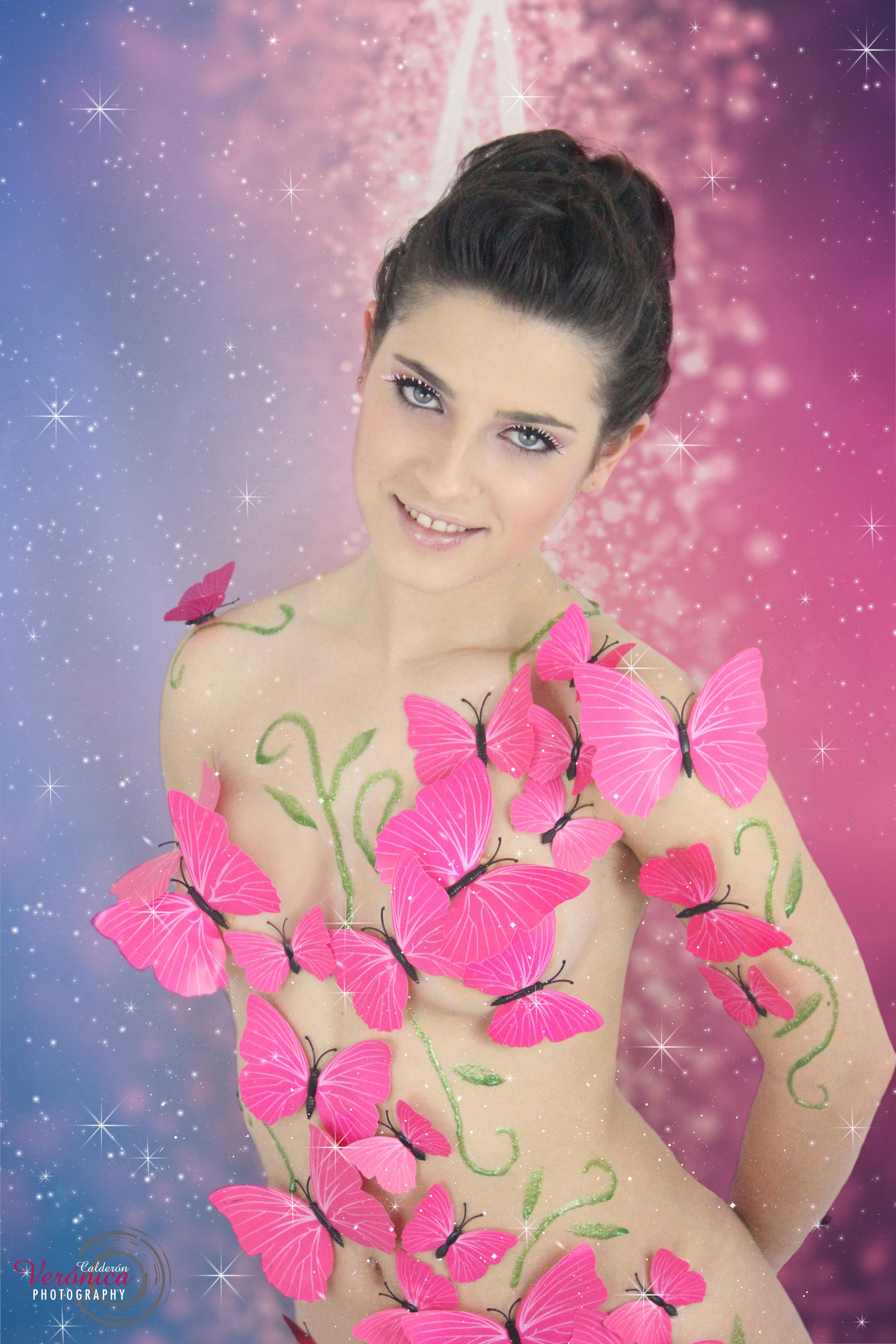 maquillaje caracterización mariposas rosas fondo fantasía