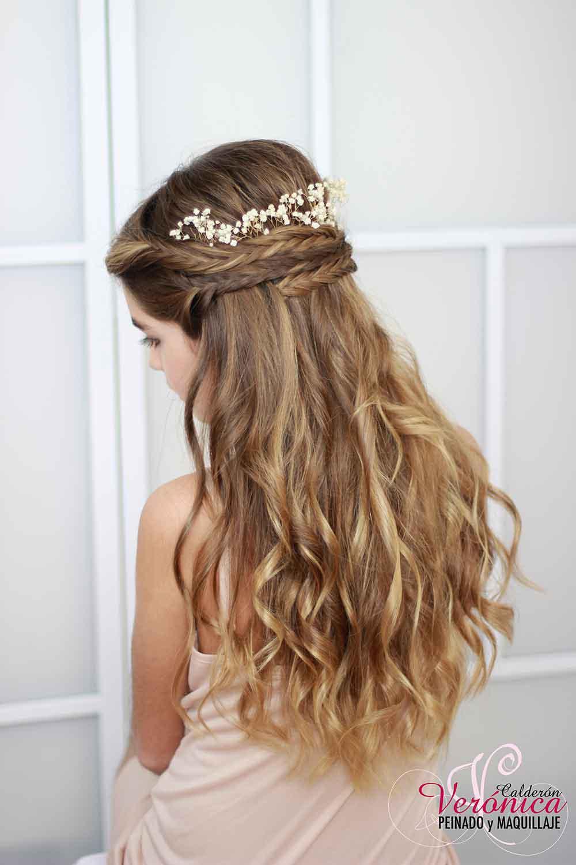 peinado  novia melena suelta diadema trenzas espiga maquillaje peinado domicilio bodas veronica calderon