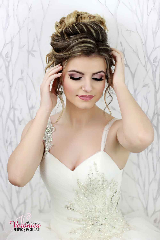 peinado novia semirecogido maquillaje tonos rosas
