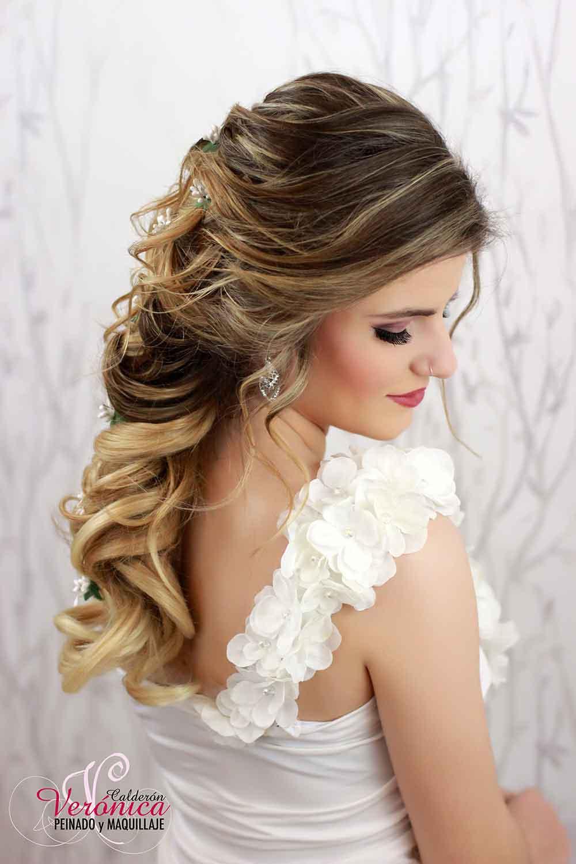 peinado novia semirrecogido semi recogido bodas domicilio veronica calderon