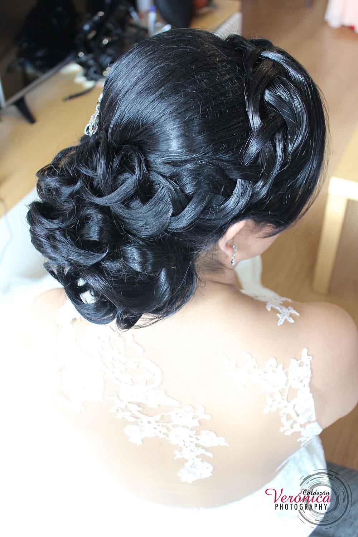 peinado novia moño bajo trenza en flequillo bodas domicilio veronica calderon