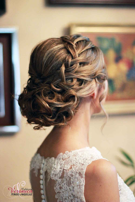 peinado novia moño bajo despeinado trenza flequillo bodas domicilio veronica calderon