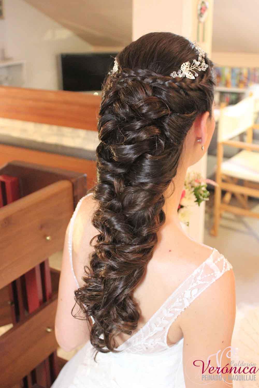 peinado novia semirecogido trenza pelo largo diadema bodas domicilio veronica calderon
