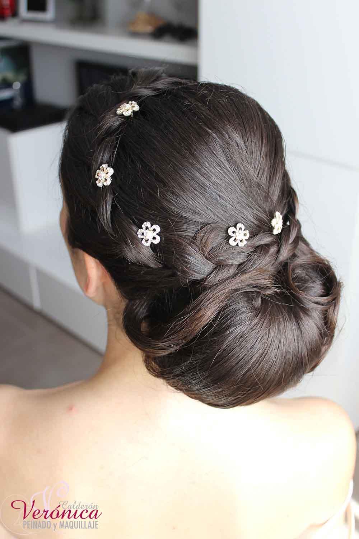 peinado novia moño romantico bajo clasico bodas domicilio veronica calderon