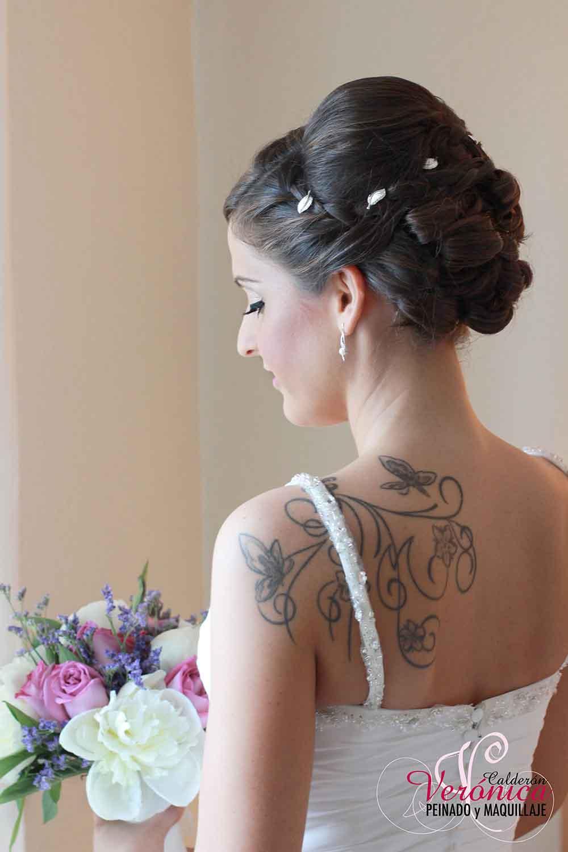 peinado novia moño bajo trenza bodas verónica calderón