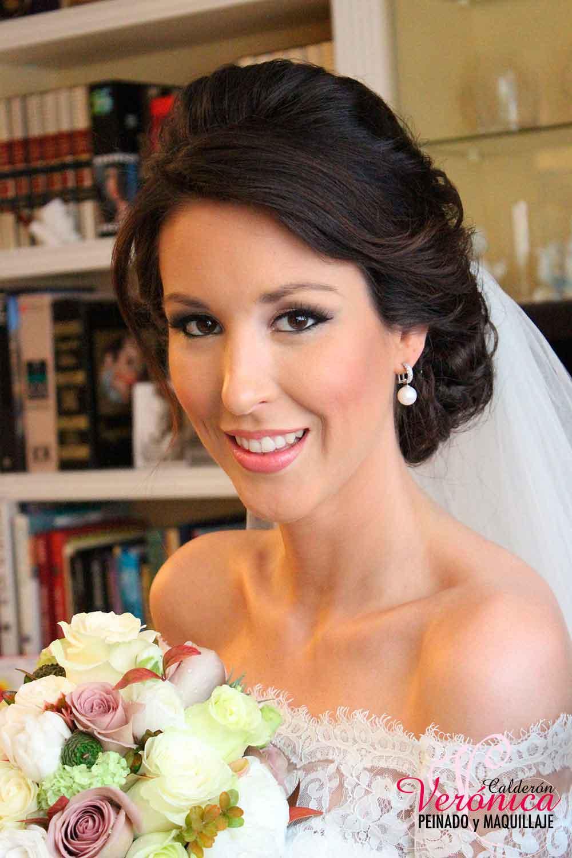 maquillaje novia makeup marrones dorados eyeliner bodas domicilio Verónica Calderón