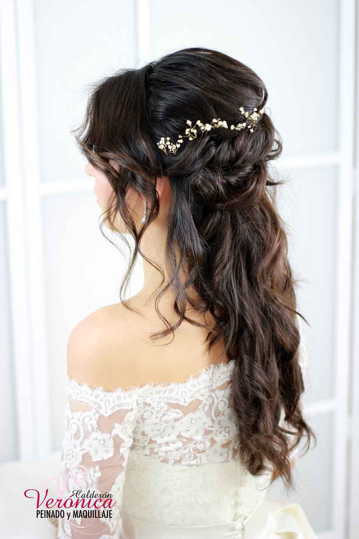Maquillaje y peinado de novia a domicilio peluquera - Peinados de semirecogido ...